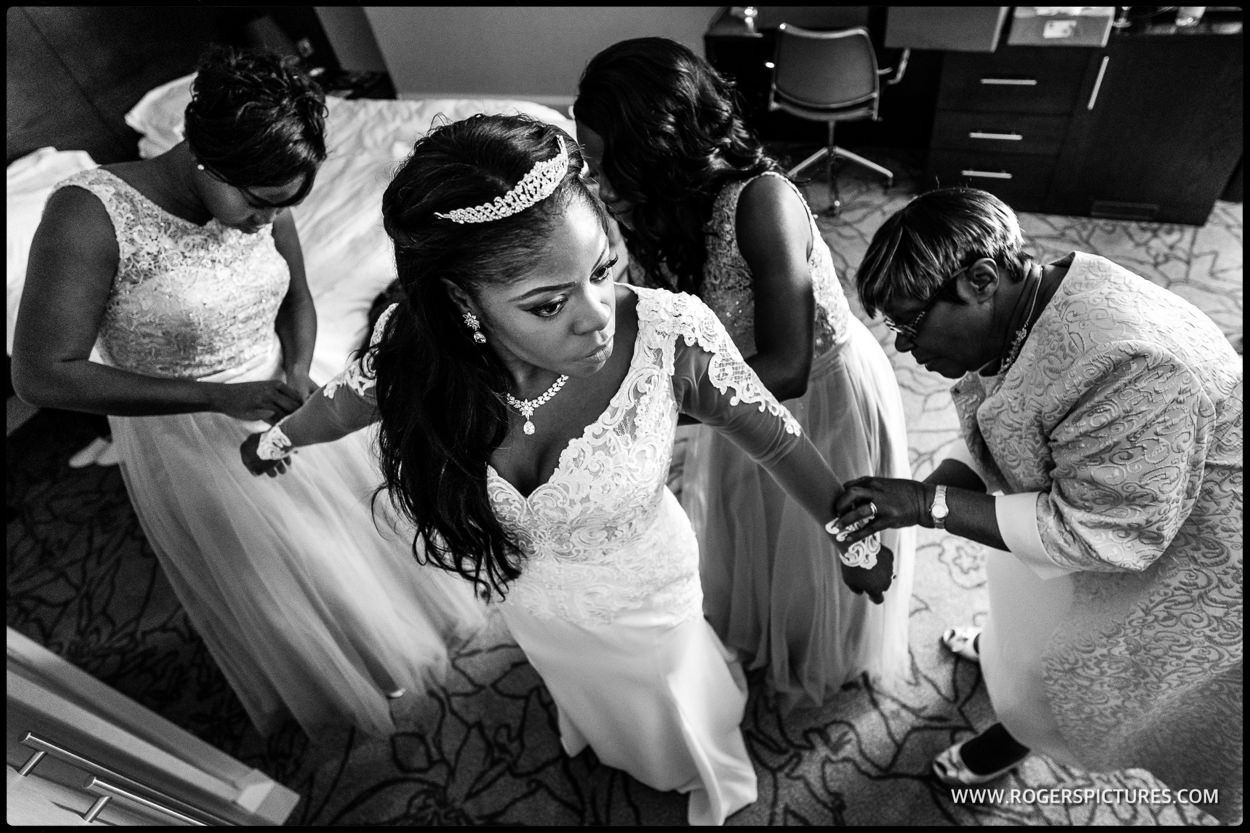 Monotone picture of bride preparations for an Addington Palace wedding