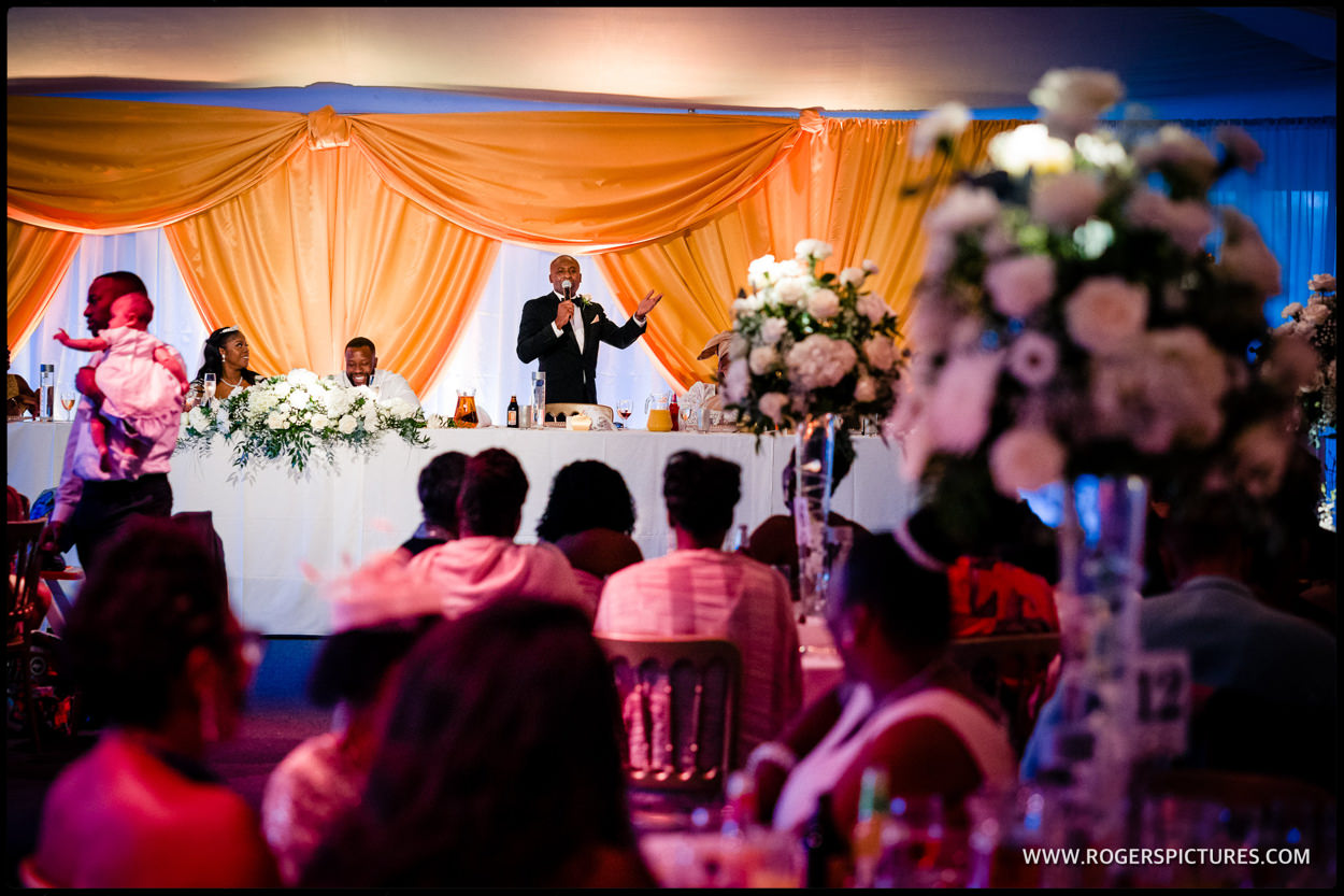 Addington Palace marquee wedding speeches