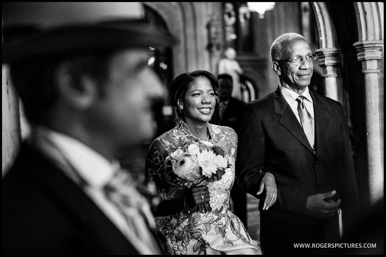 Bride and Father at House of Commons wedding