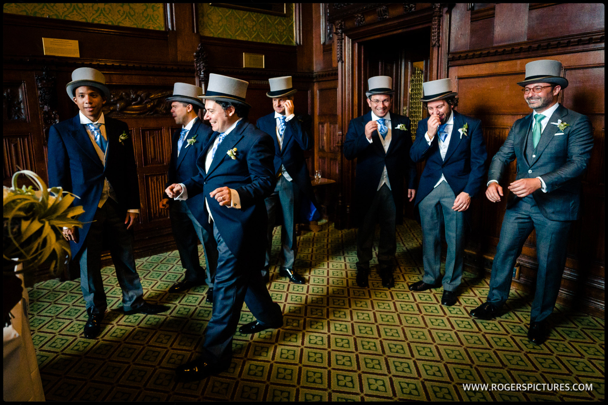 Documentary photography of groomsmen at a London wedding