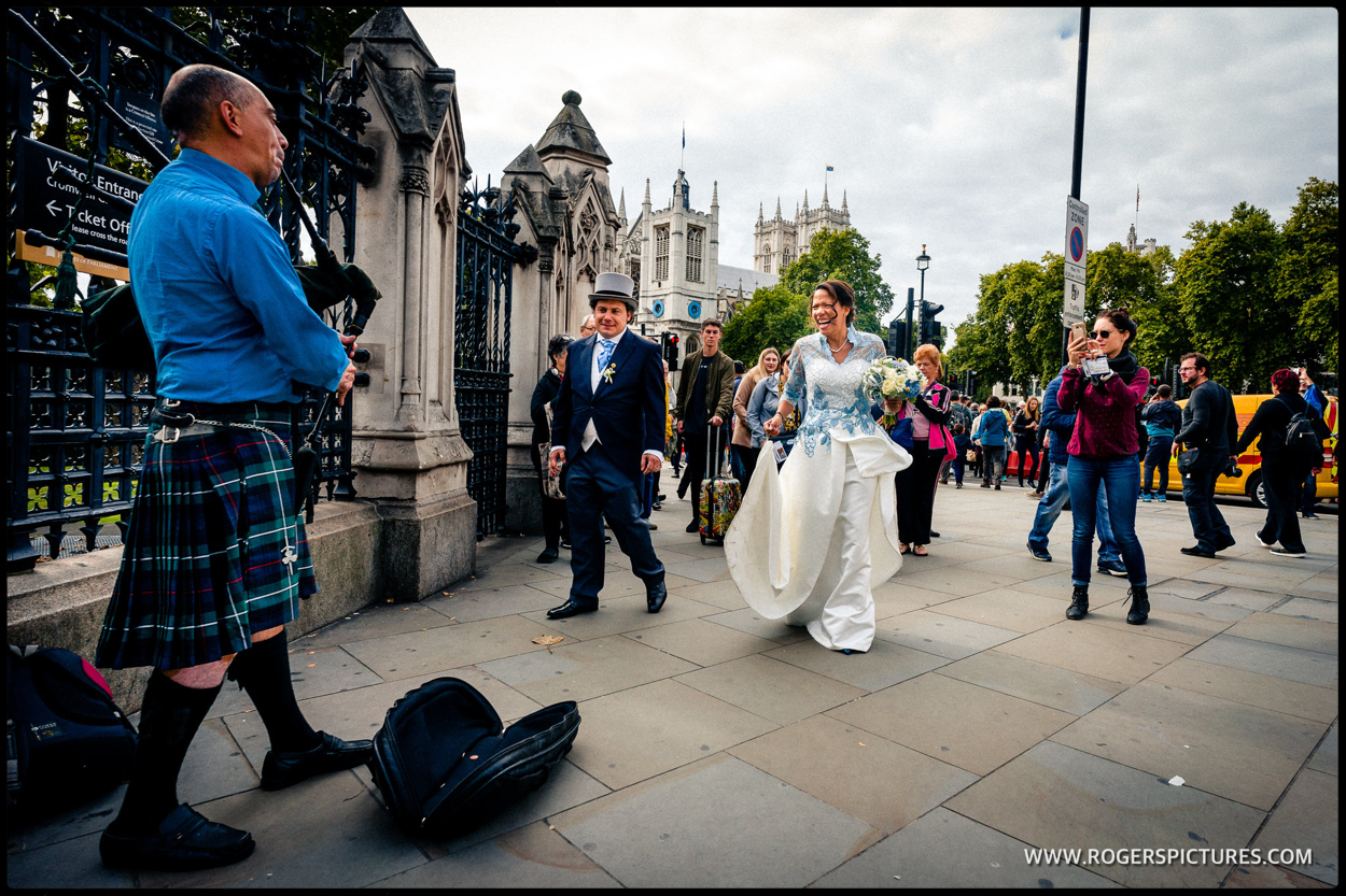 Couple after their wedding at Parliament