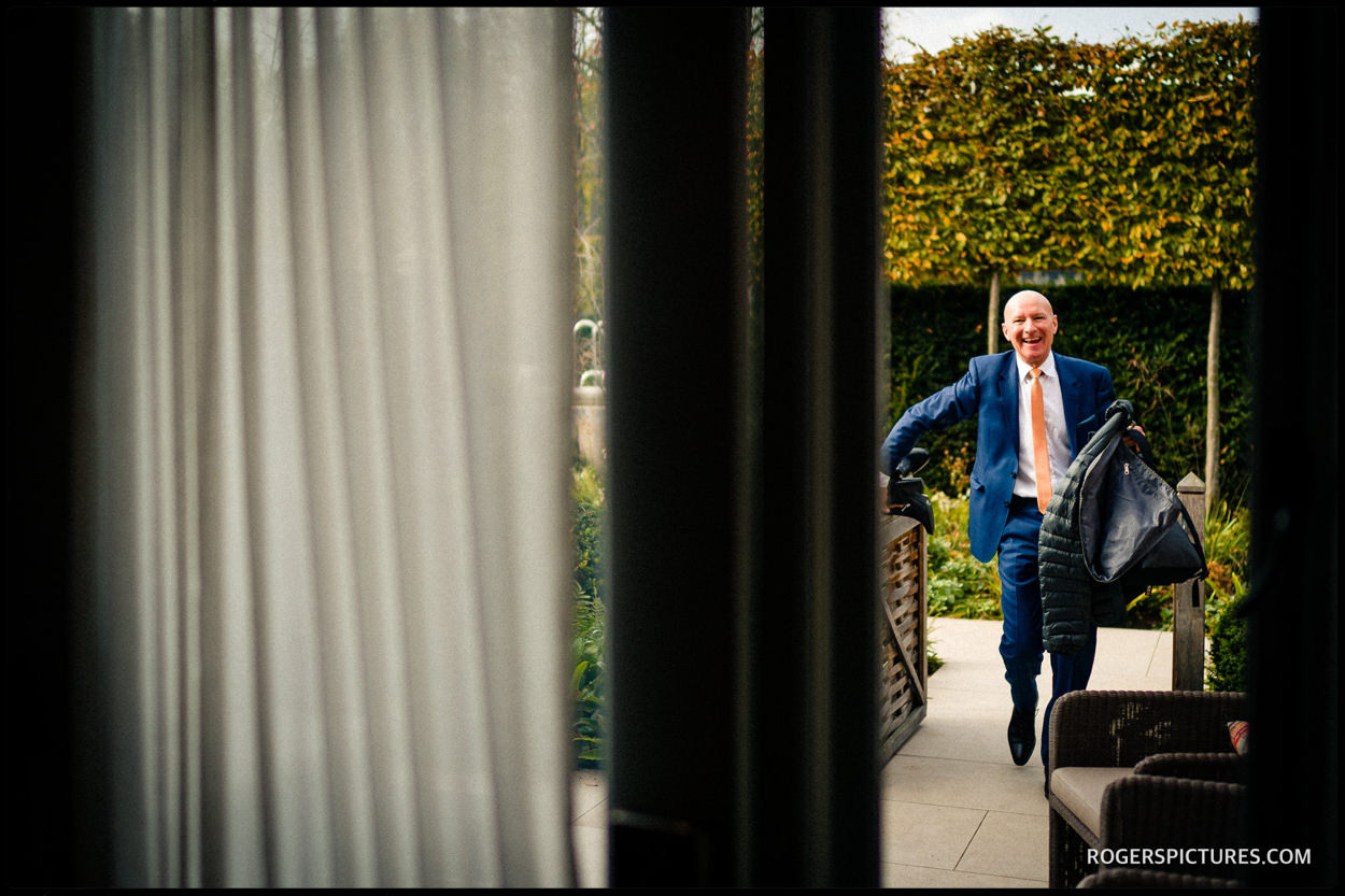 Father of the bride arrives at Sopwell House