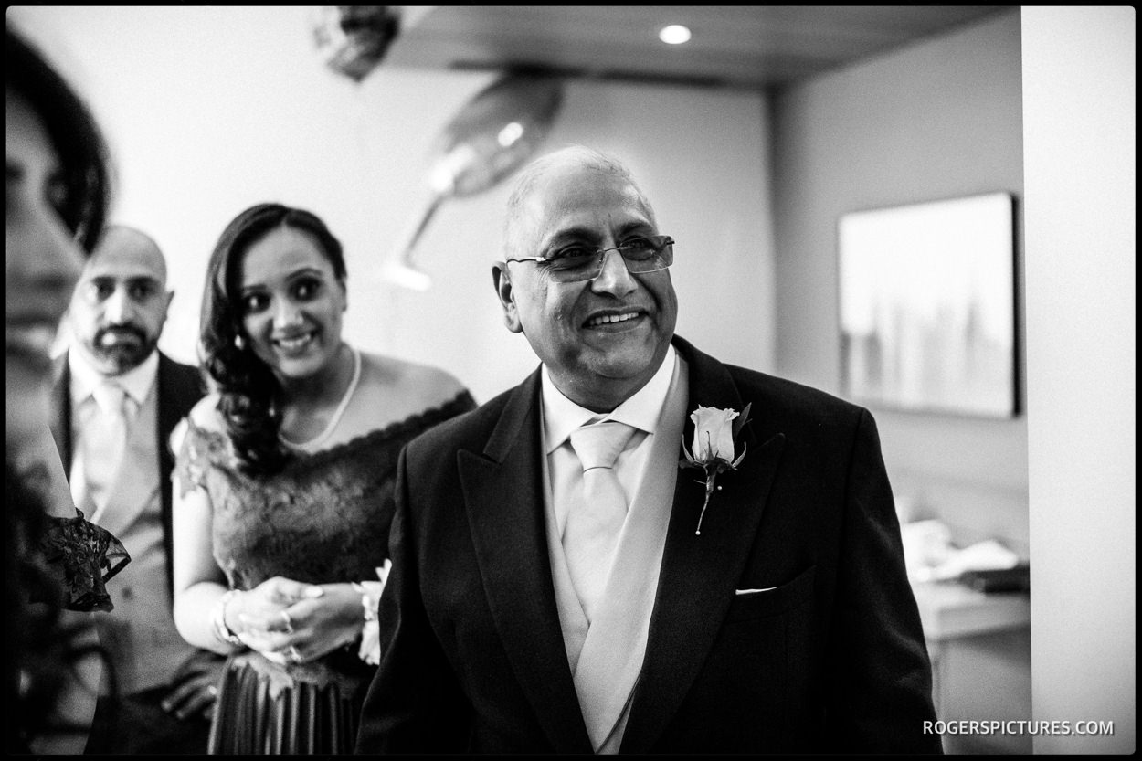 Father of the bride at the Apex Hotel near Temple in London