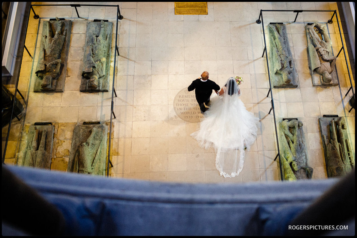 Aerial view of a church wedding