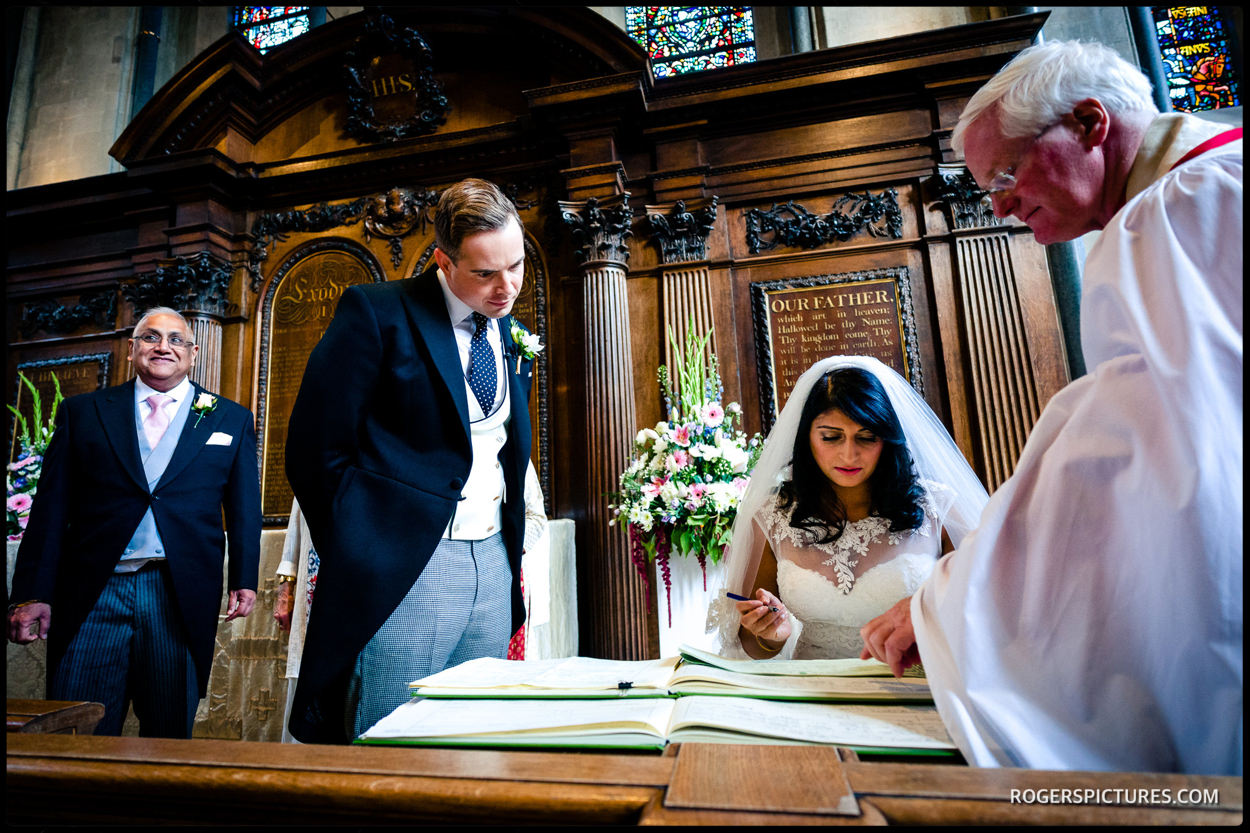 Indian and Christian wedding at Temple church