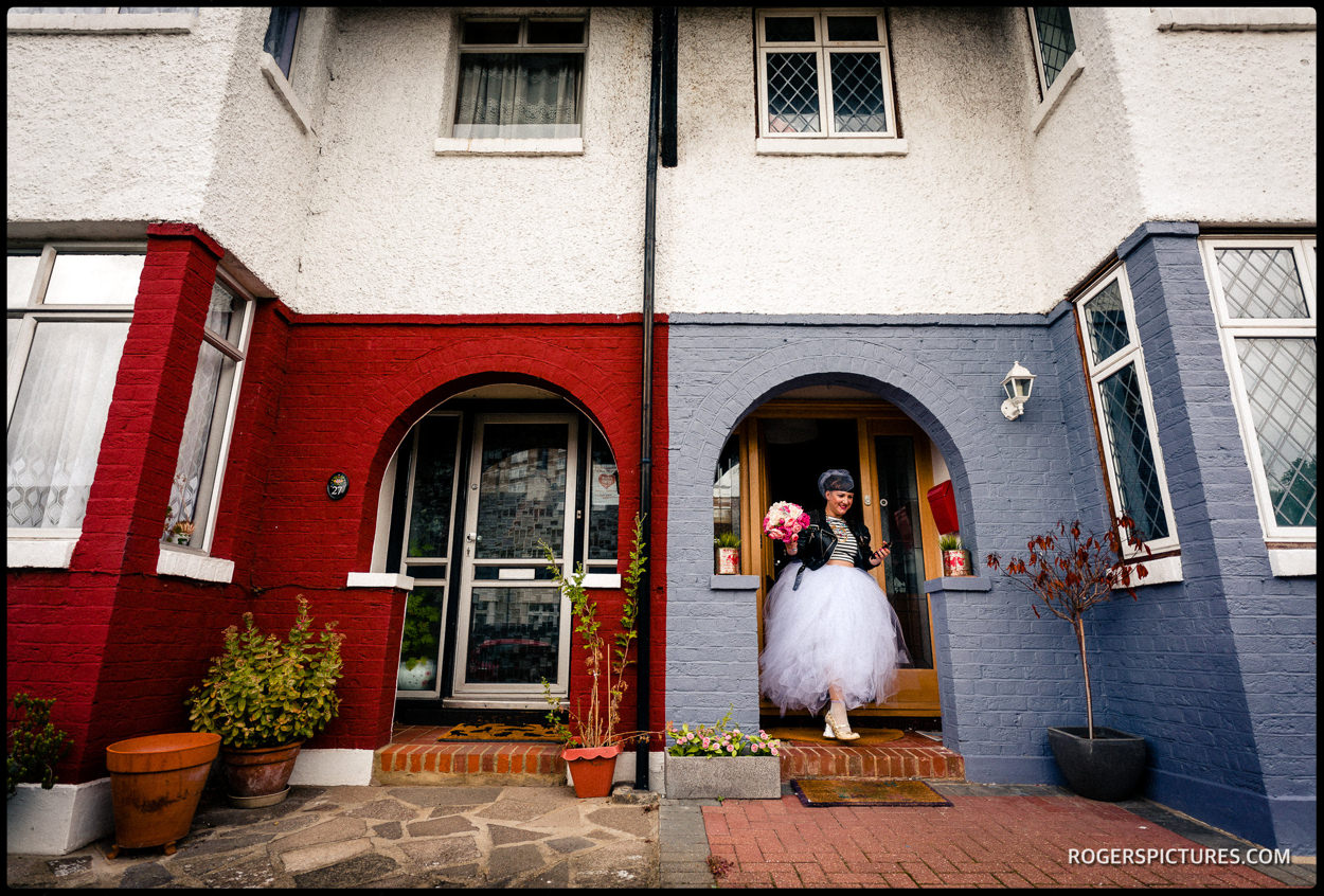 Bride leaving home in East London