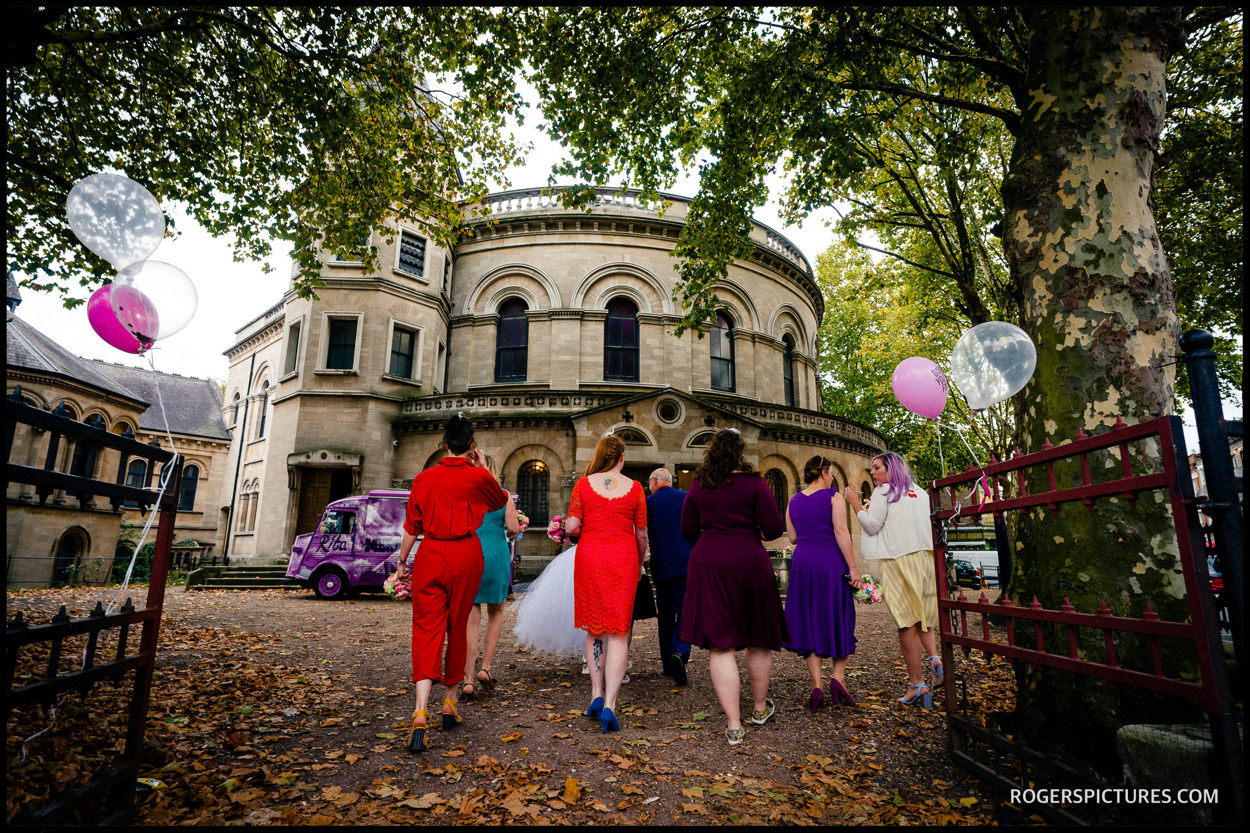 Bridal party arriving at Hackney round chapel wedding