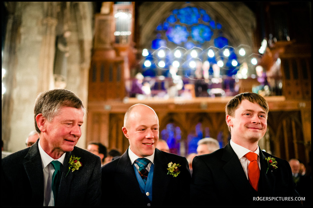 Nervous groom at St Etheldreda's Church Wedding