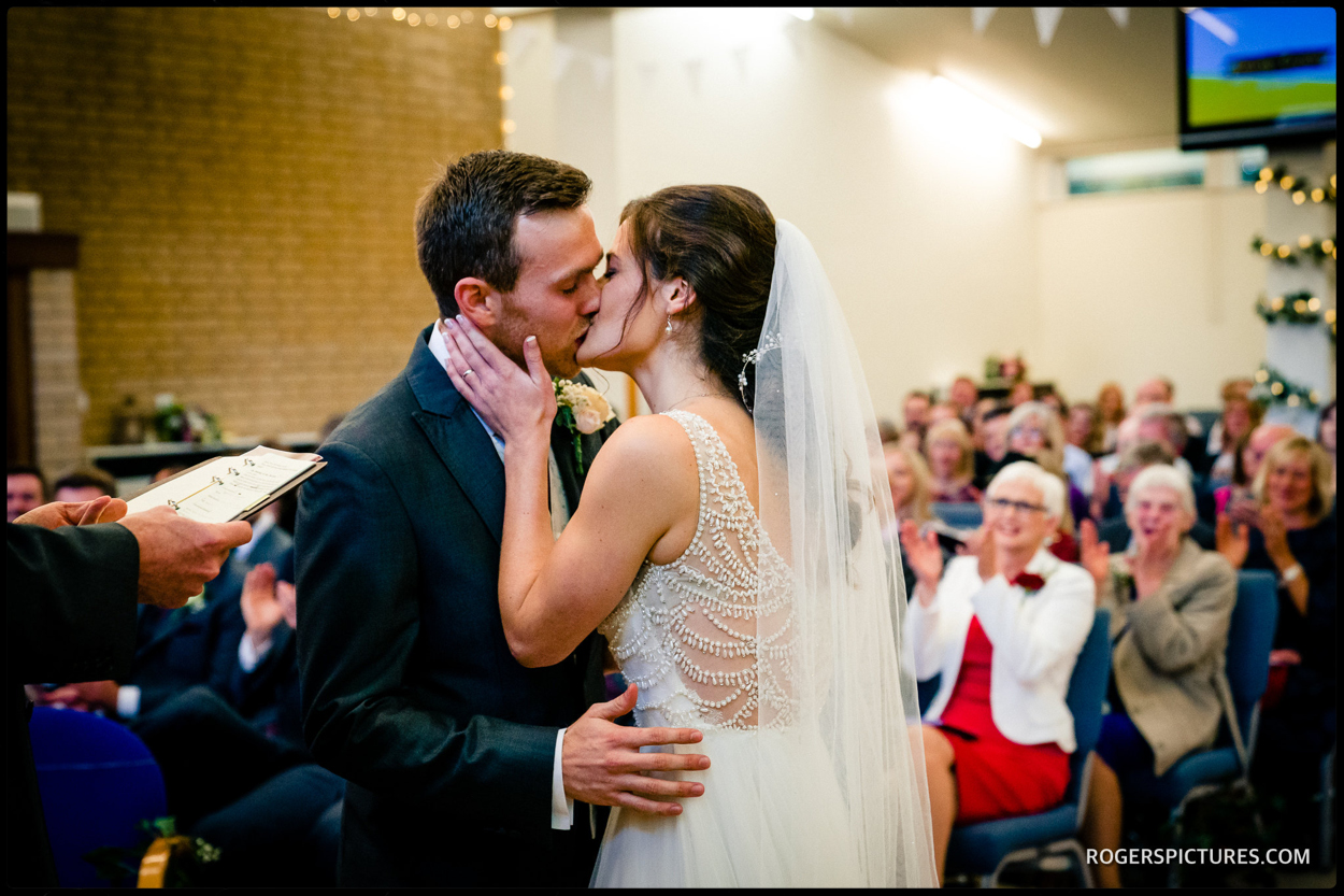 Walled Garden Beeston wedding kiss