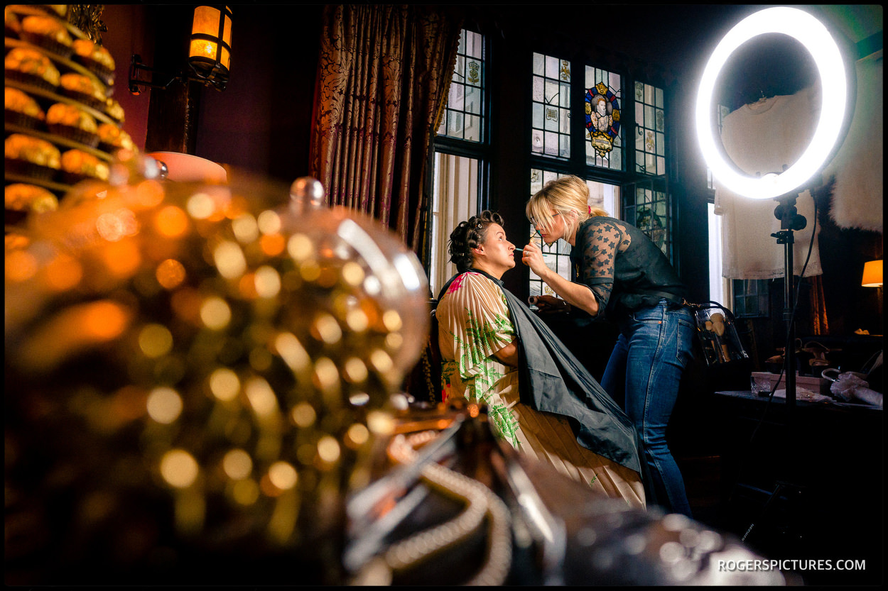 Bridal preparations at The Gore Hotel in London