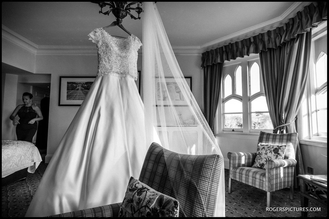 Oakley Court Windsor hanging wedding dress
