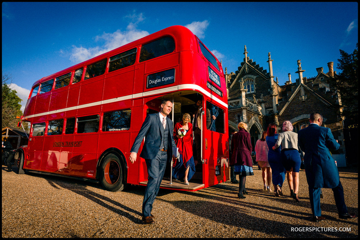 Bus at a wedding at Oakley Court Windsor
