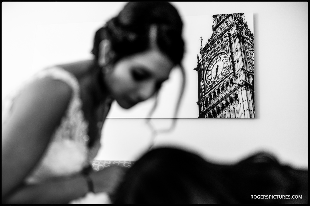 Bride in her wedding dress in front of Big Ben