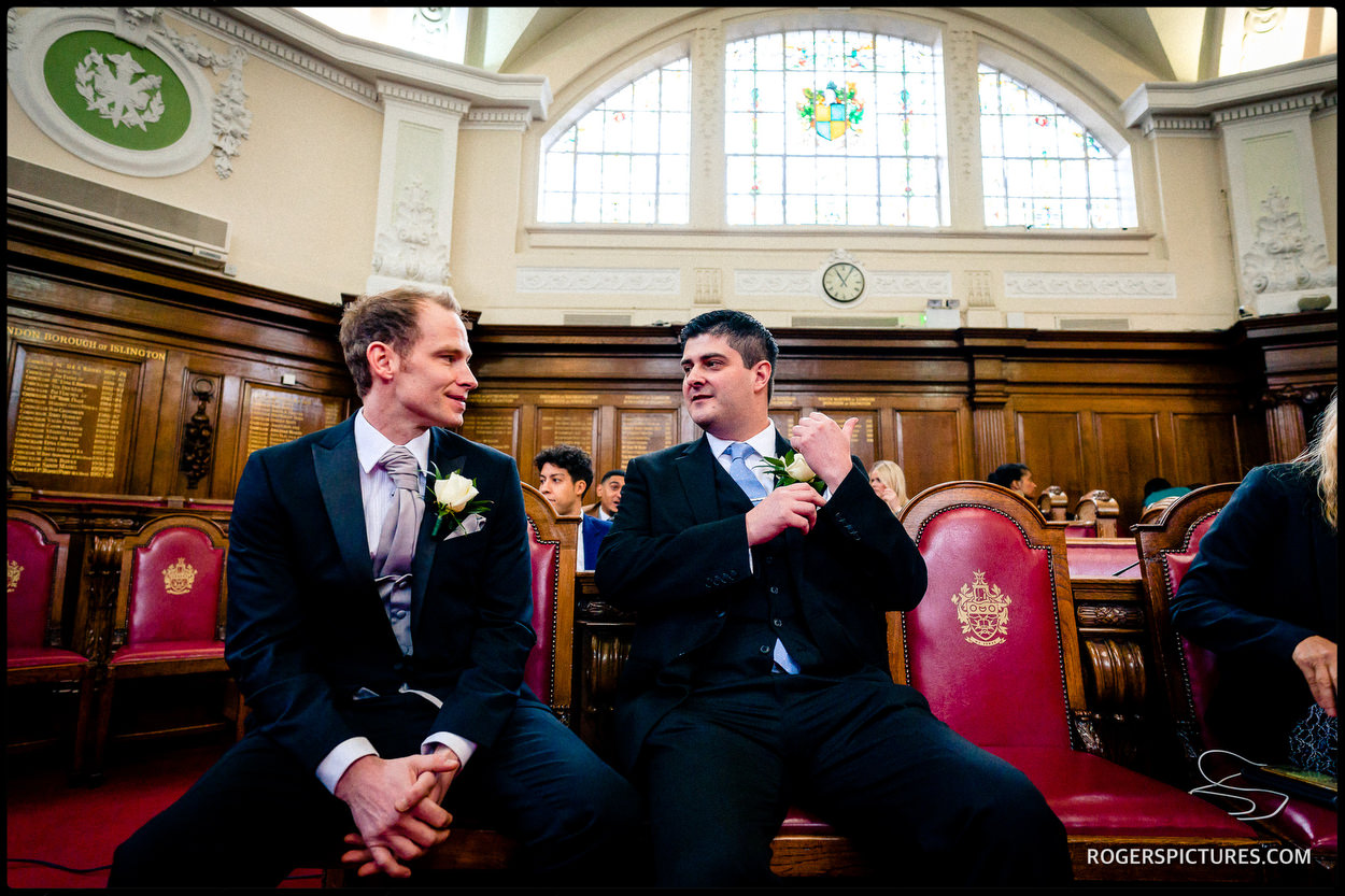 Groom and best man at islington Town Hall