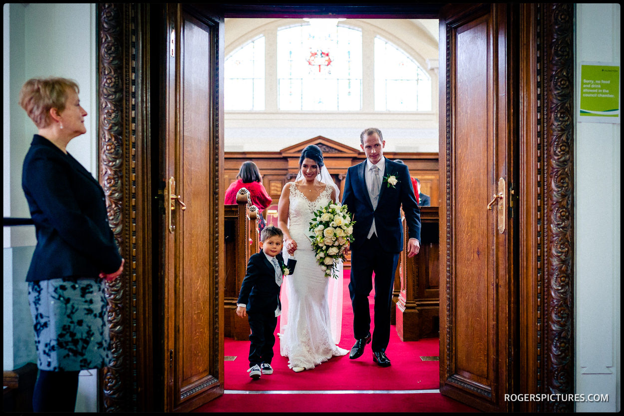 Happily married couple at Islington Town Hall council chamber
