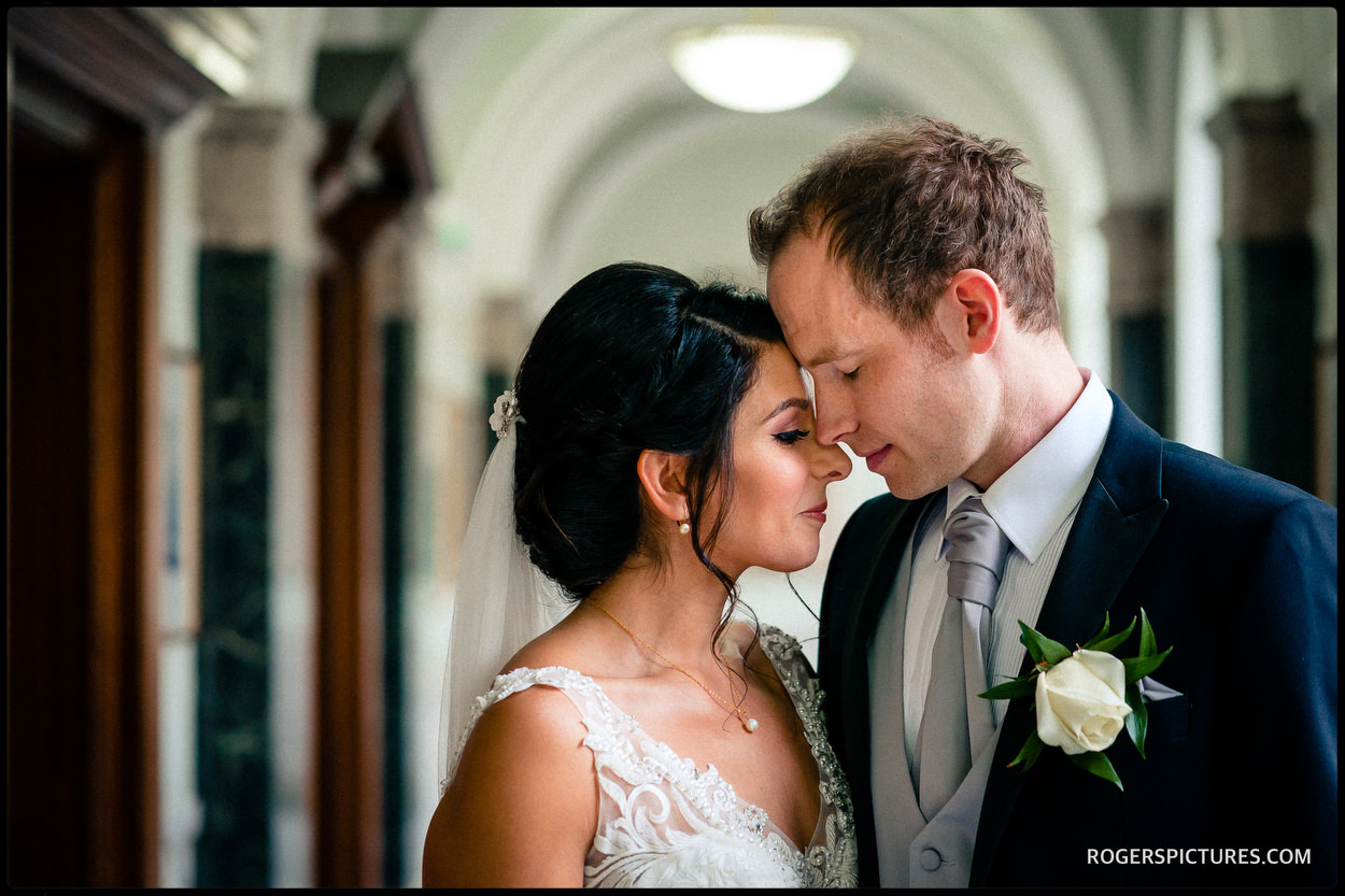 Portrait of bride and groom after a wedding ceremony at Islington Town Hall
