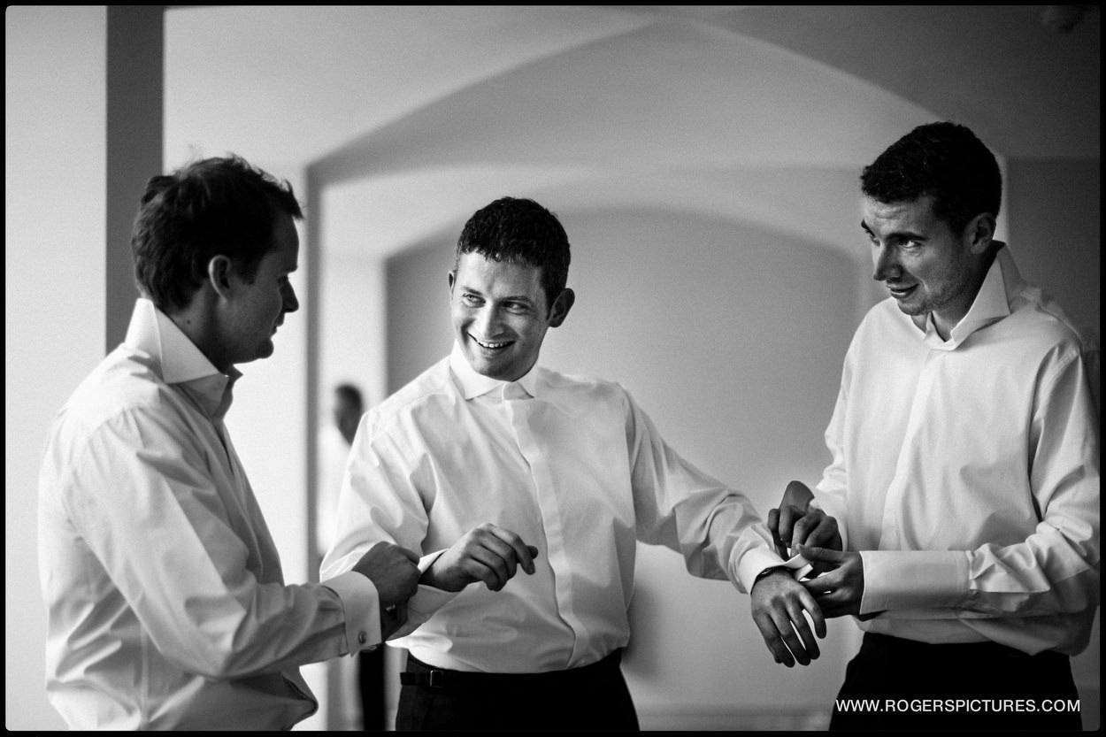 Groomsman preparations at Buxted Park Hotel