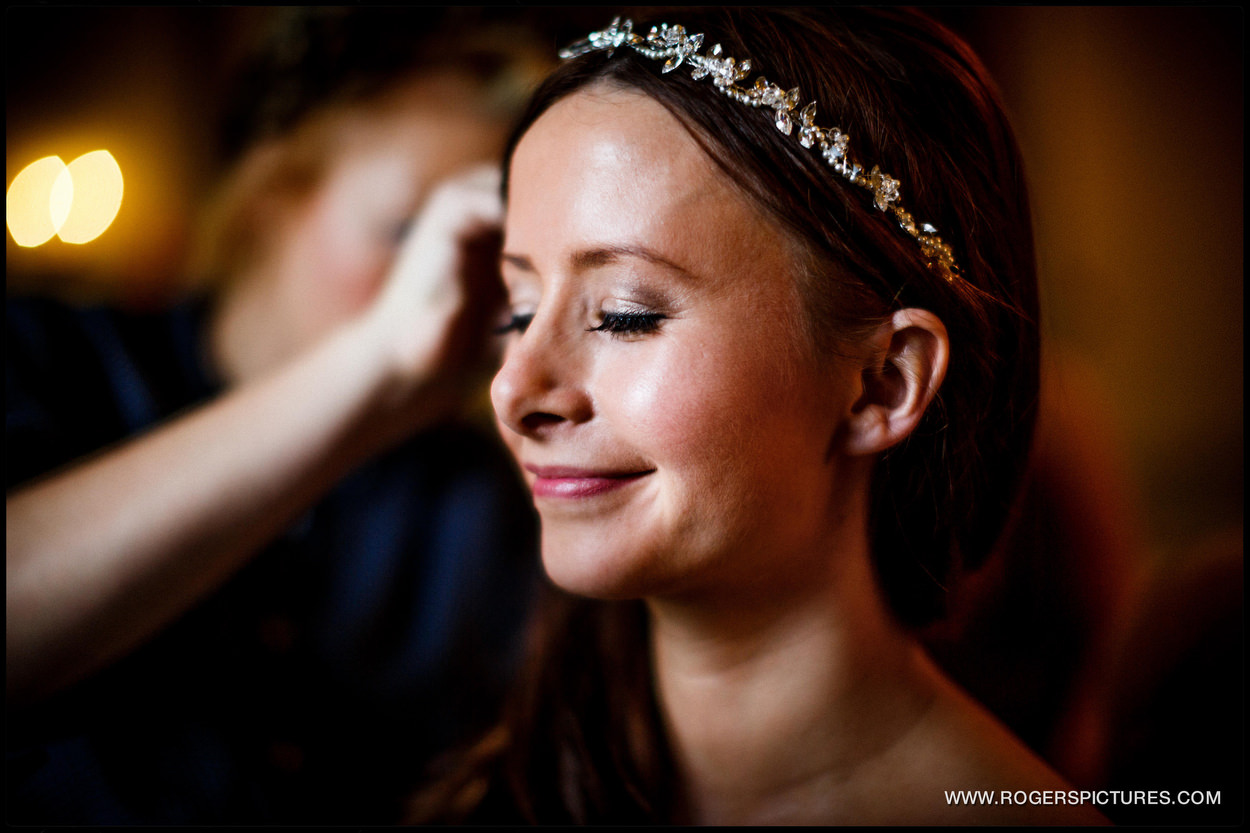 Bride getting ready at Buxted Park Hotel