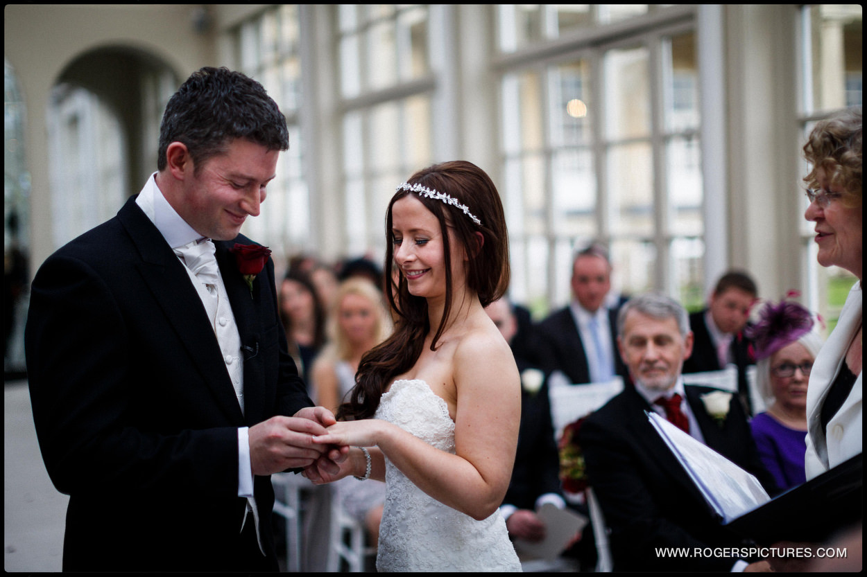 Bride and groom in wedding ceremony in Sussex