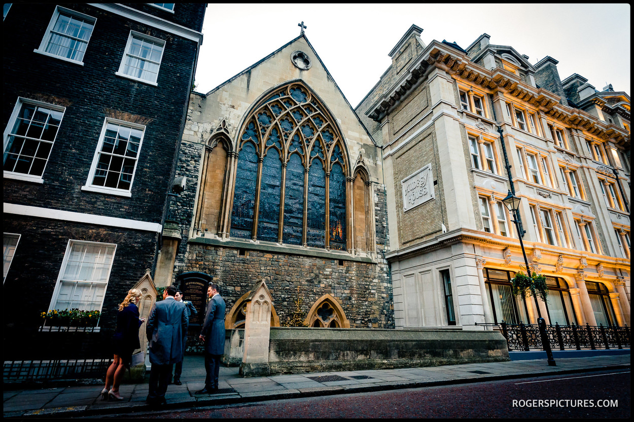 St Etheldredas Catholic church on Ely Place in London before a winter wedding