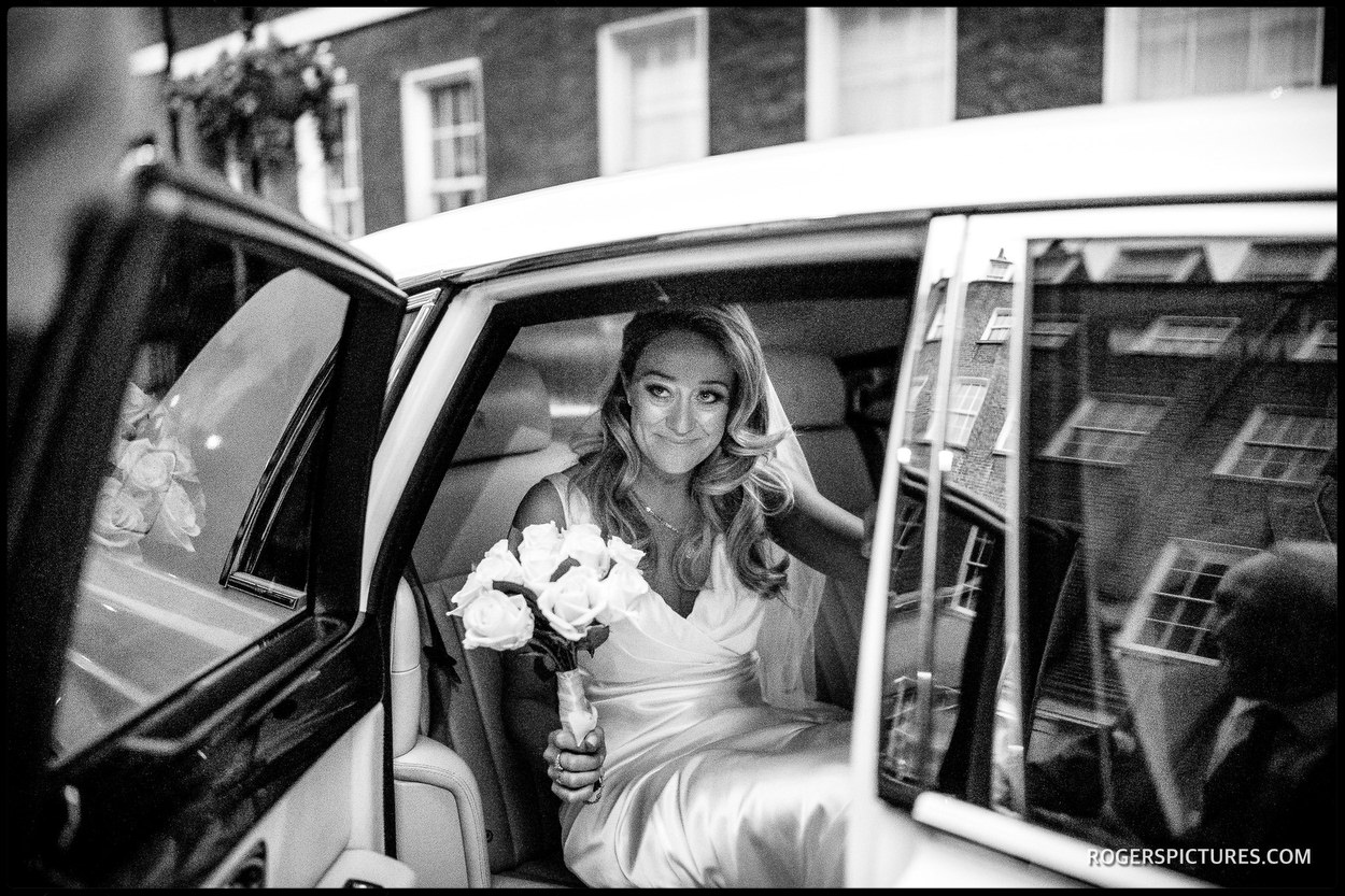 Brie arrives for wedding at Ely Place London