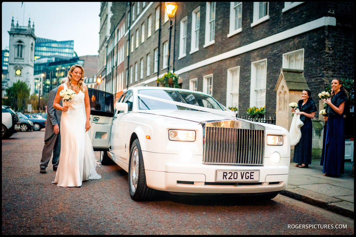 Bride and Rolls Royce in London