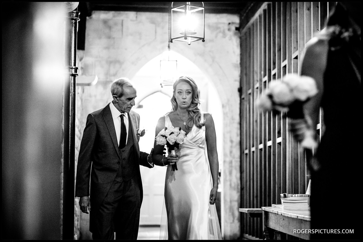 The Crypt at Ely Place wedding bride and Father