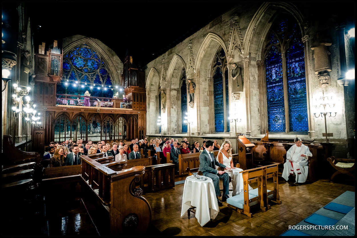 Oldest Roman Catholic church in London wedding ceremony