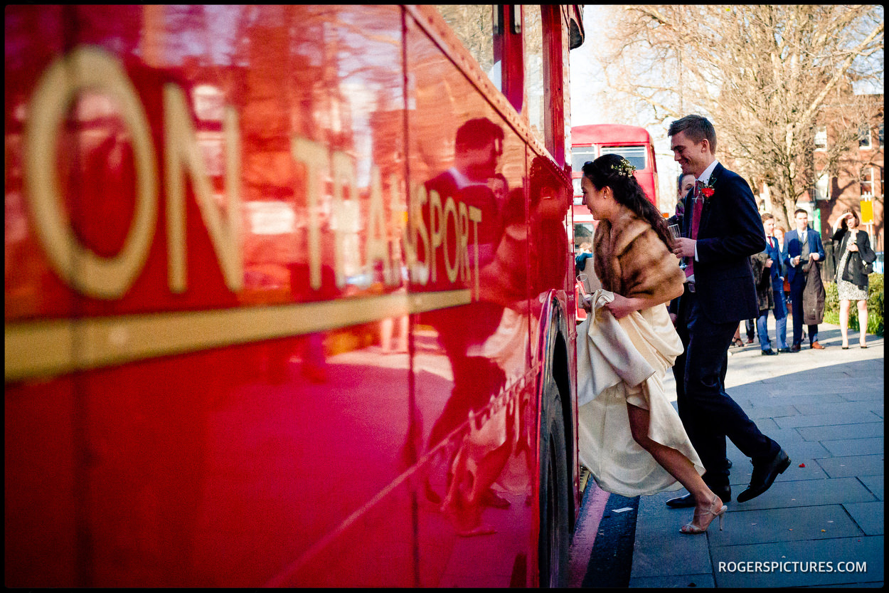 Islington Town Hall wedding London bus