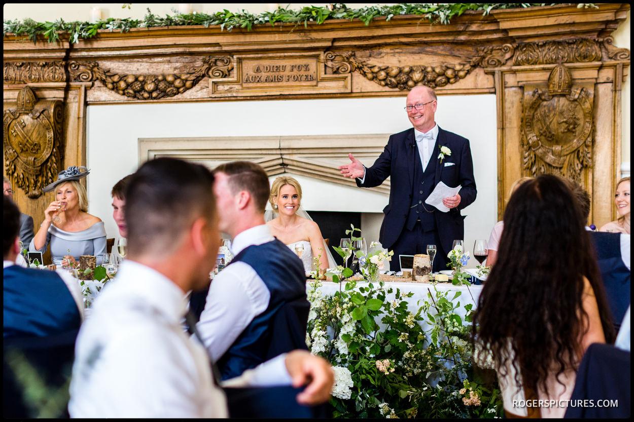 Wedding speeches at Farnham Castle