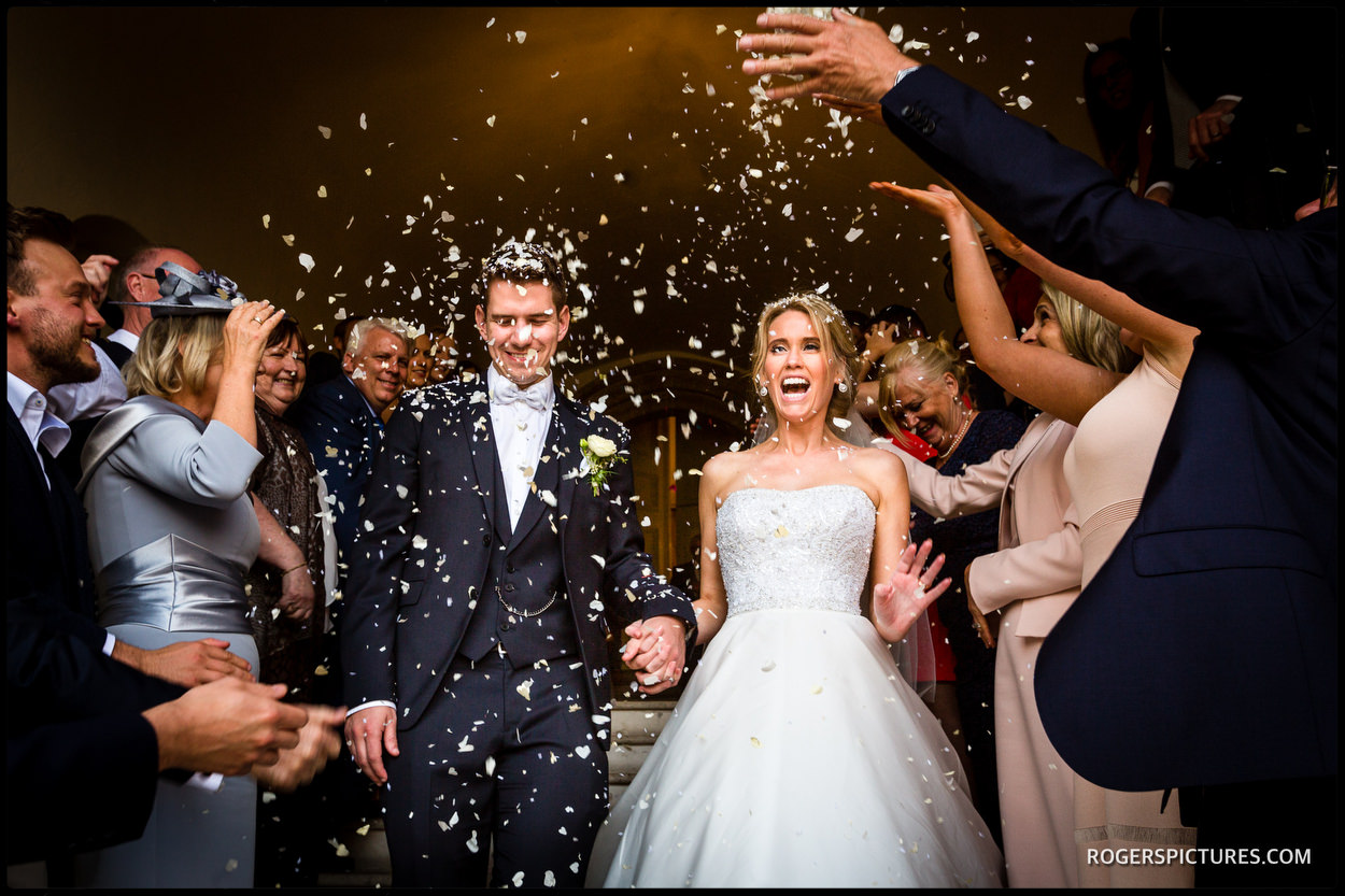 Confetti at Farnham Castle wedding