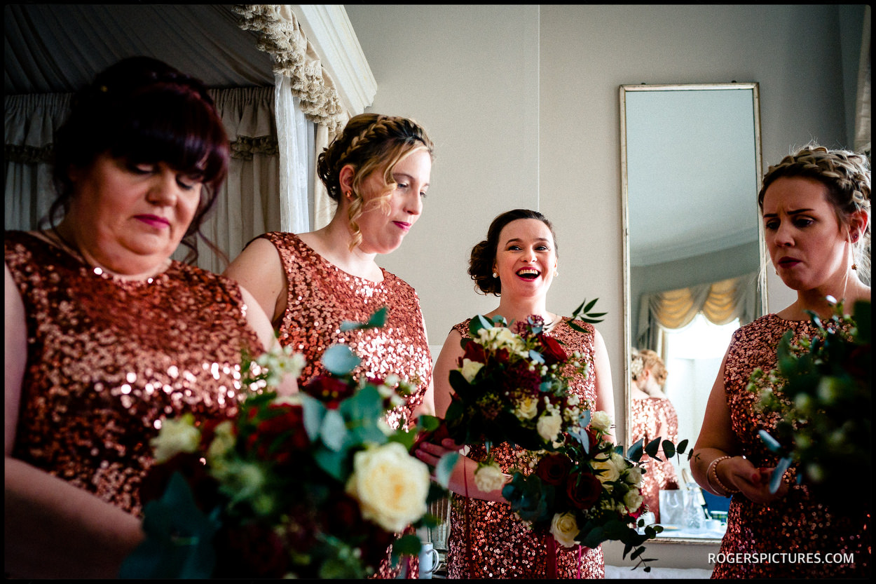 Bridesmaids in copper dresses at North Cadbury Court wedding