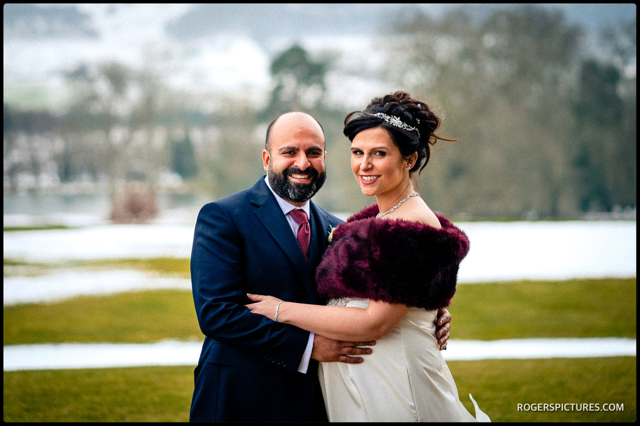 Bride and groom portrait at North Cadbury Court wedding