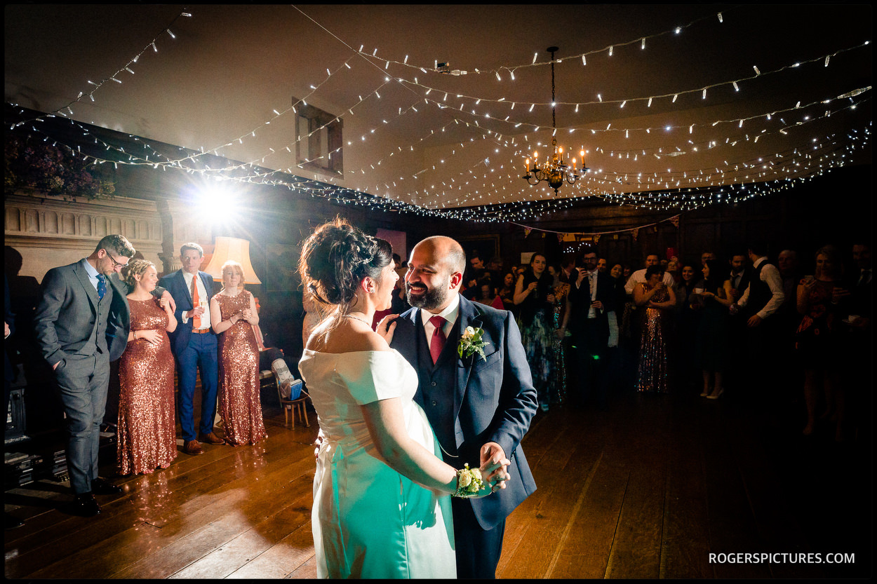 First dance at Winter wedding at North Cadbury Court