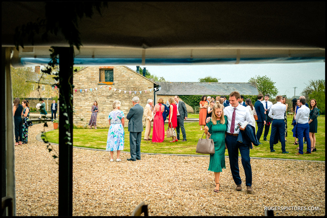 Barn wedding guests