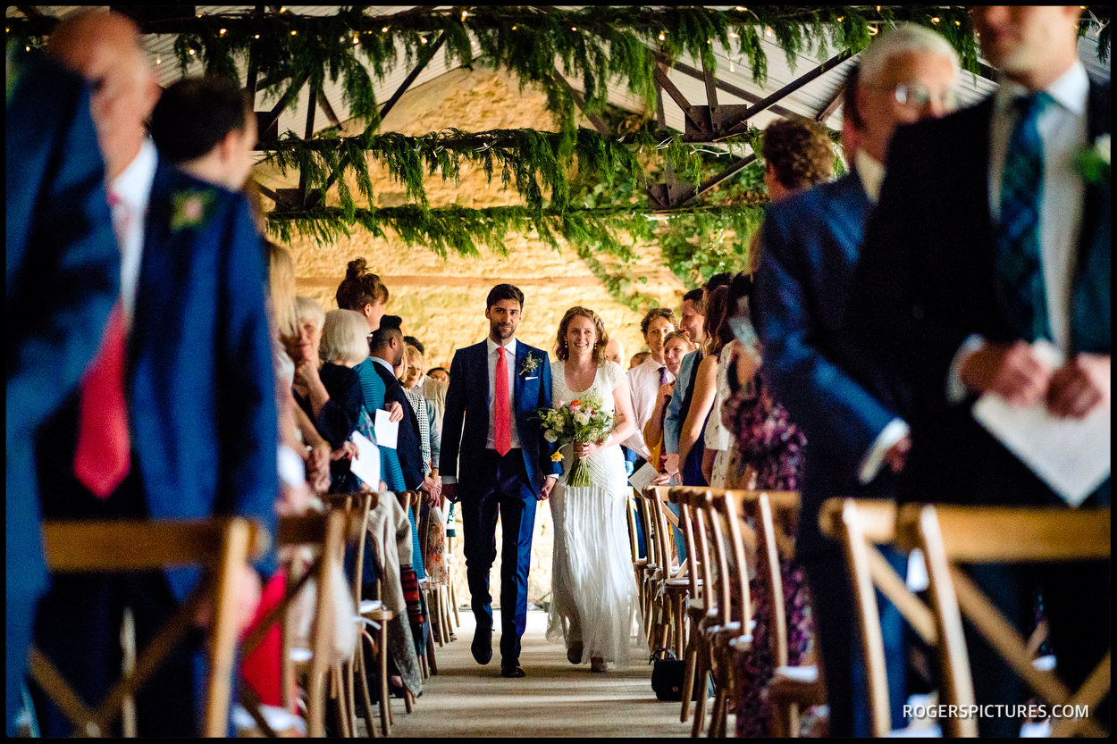 Wedding ceremony in a Buckinghamshire barn wedding