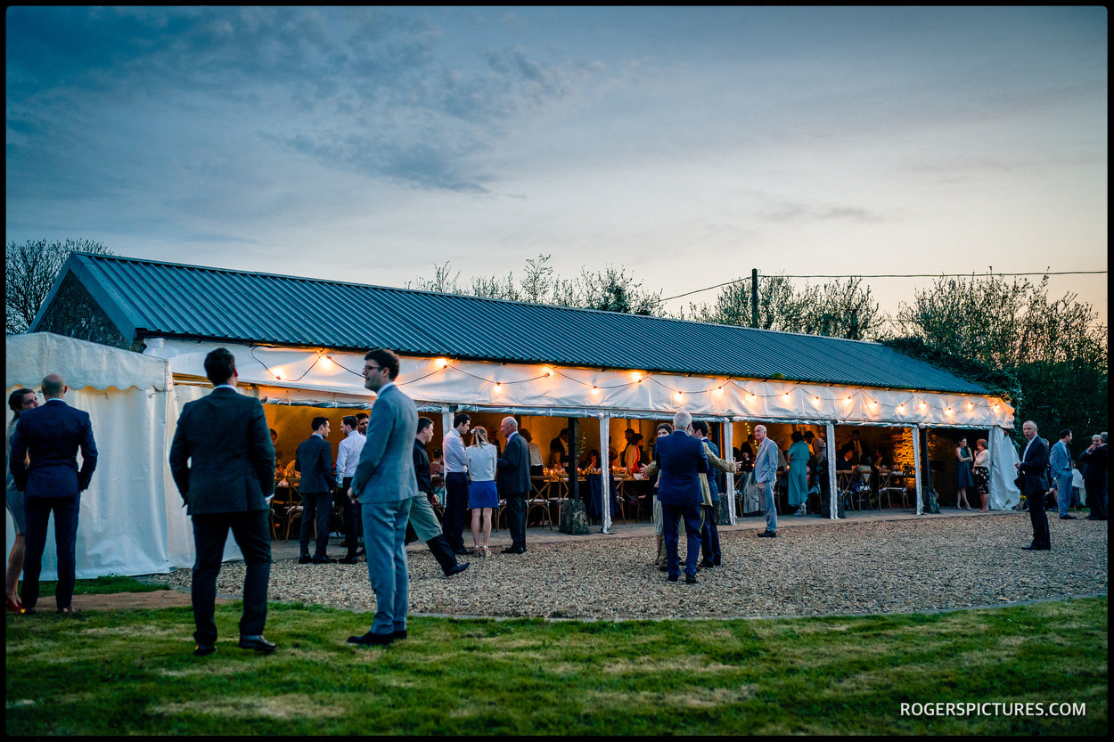 Dusk at a barn wedding