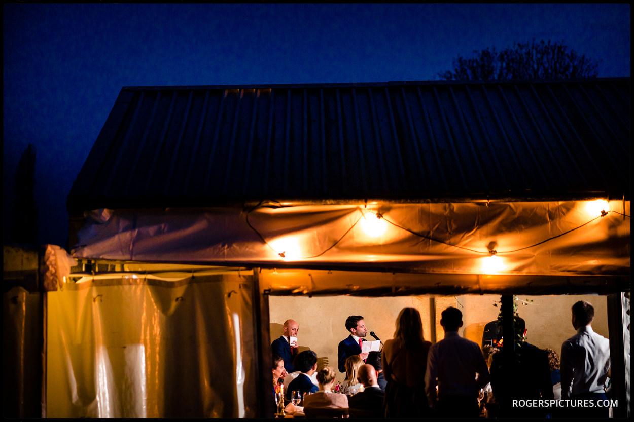 Evening speeches at a barn wedding in Buckinghamshire