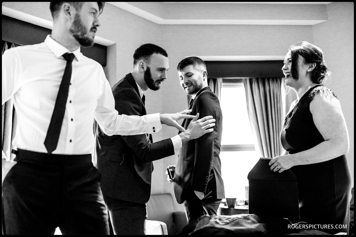 Black and white groom prep picture in London