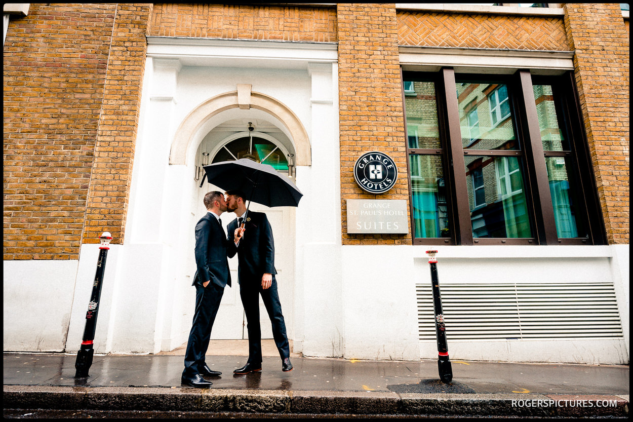 Grooms ready for same sex wedding in London