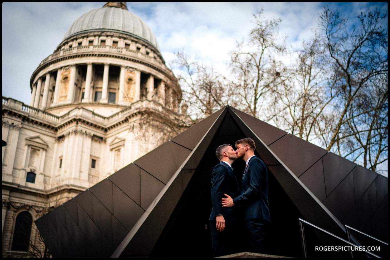 Same sex wedding near St Paul's Cathedral in London