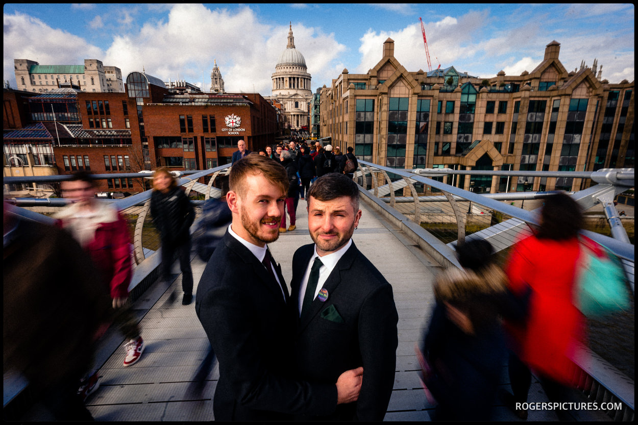 Same sex wedding couple on Millennium Bridge