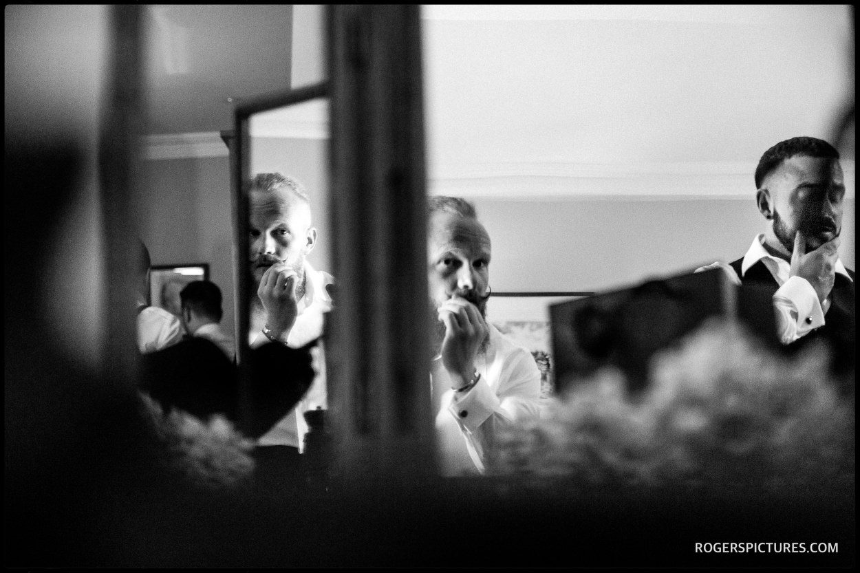 Groomsmen getting ready at Hatfield House