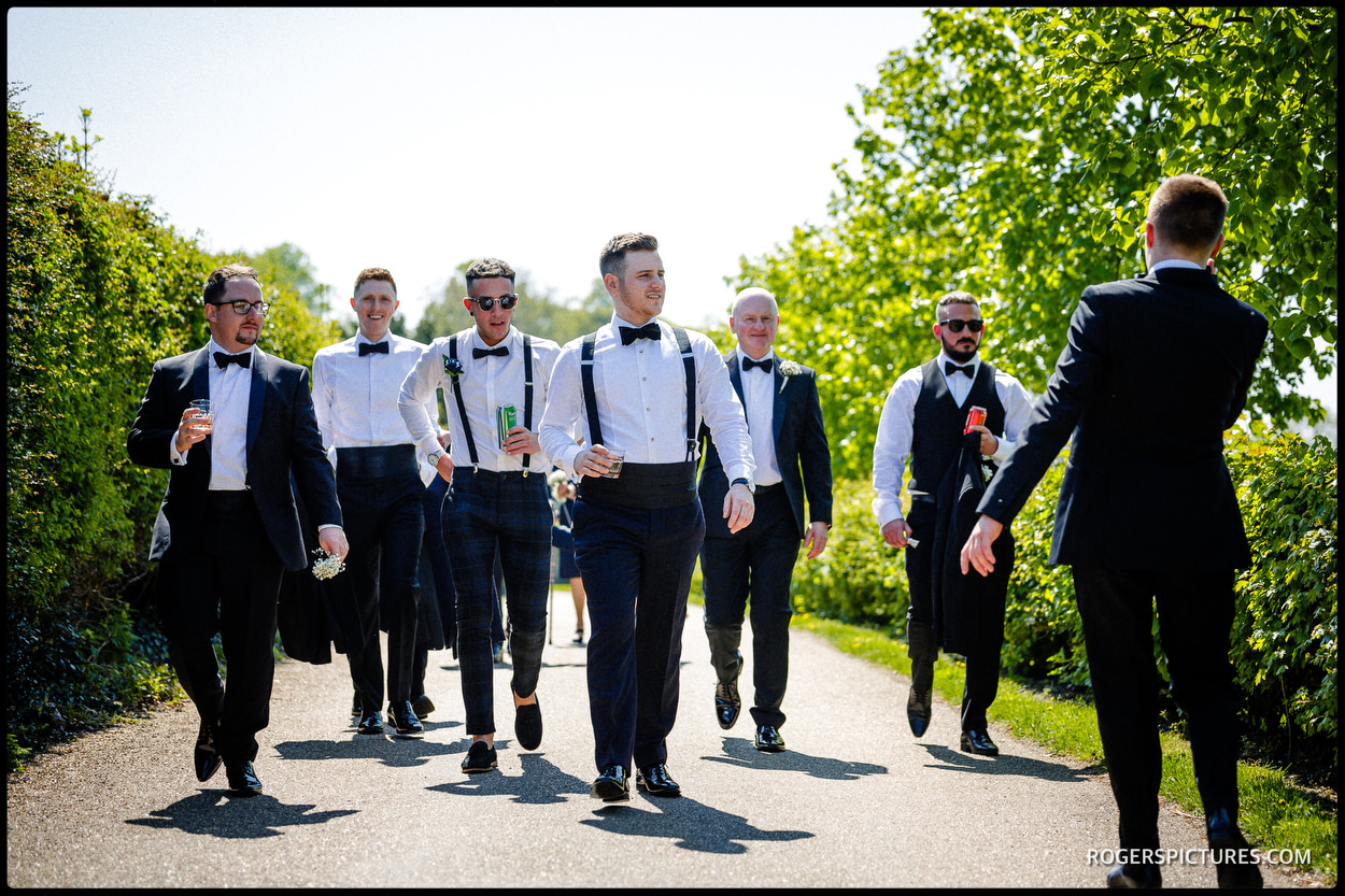 Groom and best men at Hatfield House in Hertfordshire
