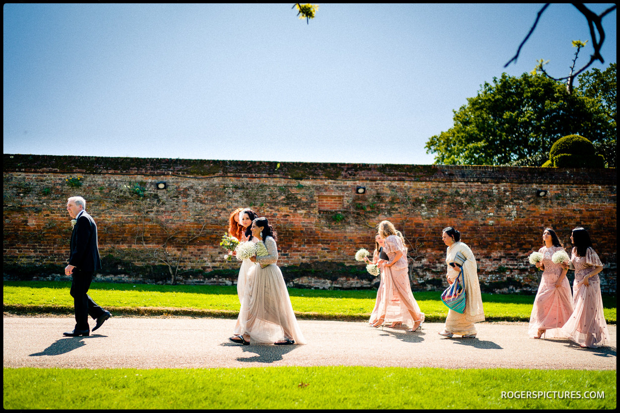 Bridesmaids in the sun at Hatfield House