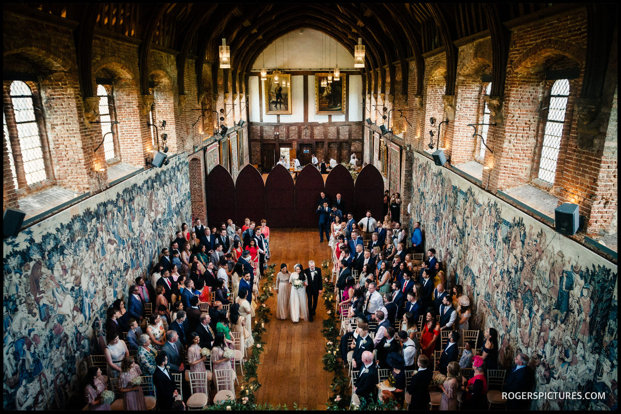 The stunning Old Palace at Hatfield House during a wedding ceremony