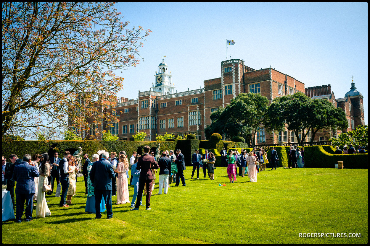 Sunny weather at Hatfield House wedding