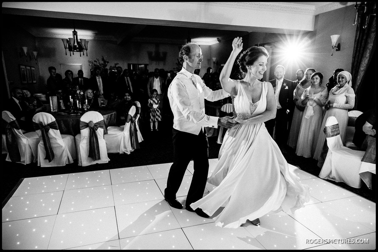 Black and white picture during the first dance