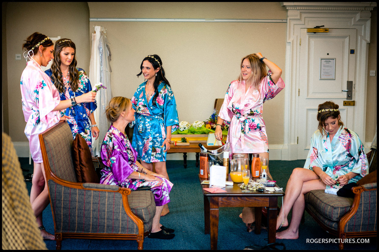 Bridesmaids in silk dressing gowns at De Vere Horwood Estate Hotel