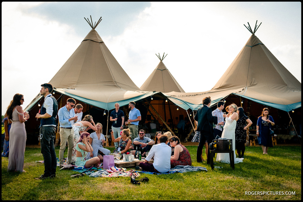 Canvas tents at a Buckinghamshire wedding